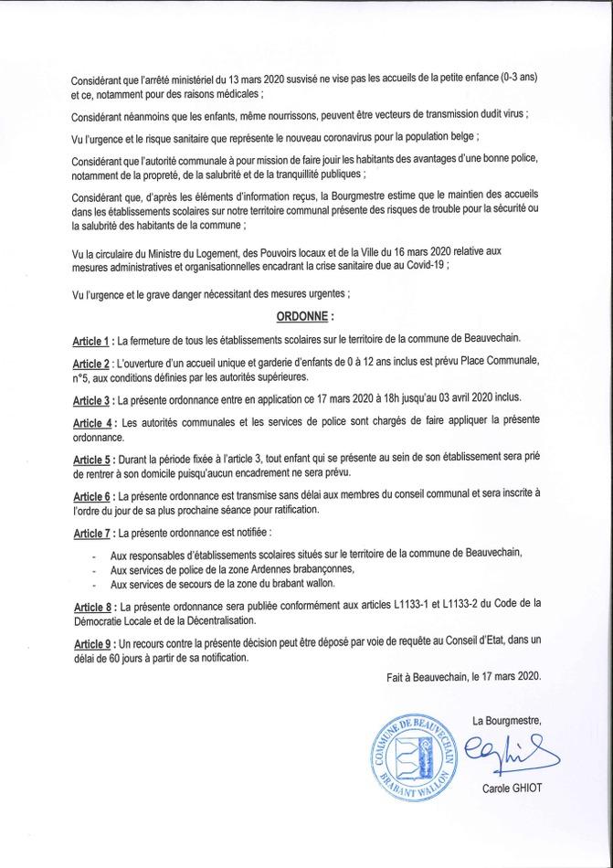 Ordonnance écoles verso